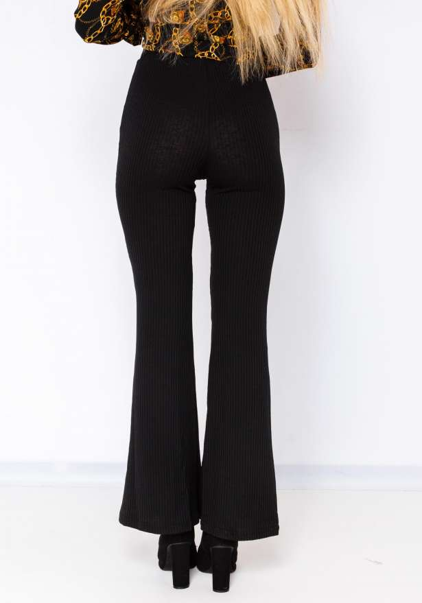 Ribbed Flare Pants In Black