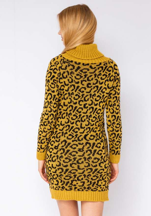 Leopard Polo Neck Jumper Dress In Yellow