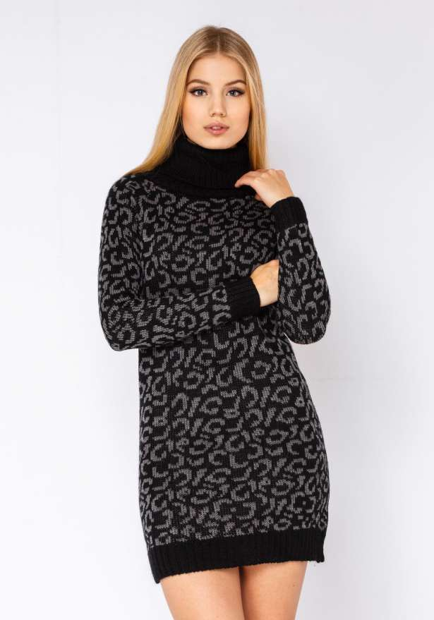 Leopard Polo Neck Jumper Dress In Black