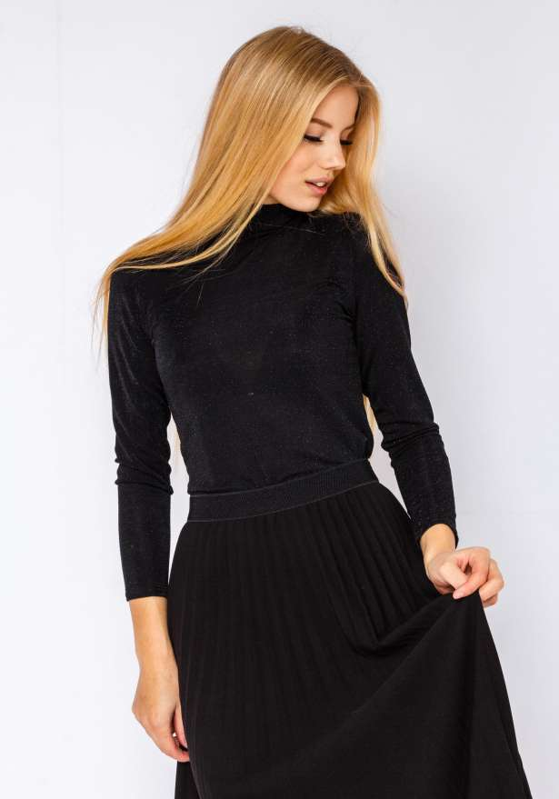 Glitter Holiday Polo Neck Shirt In Black Glitter