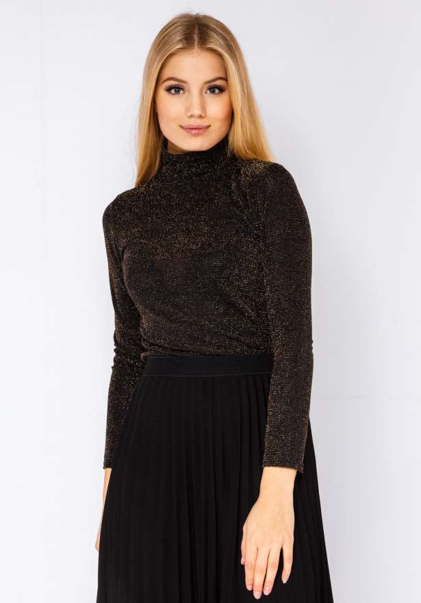 Glitter Holiday Polo Neck Shirt In Black Gold