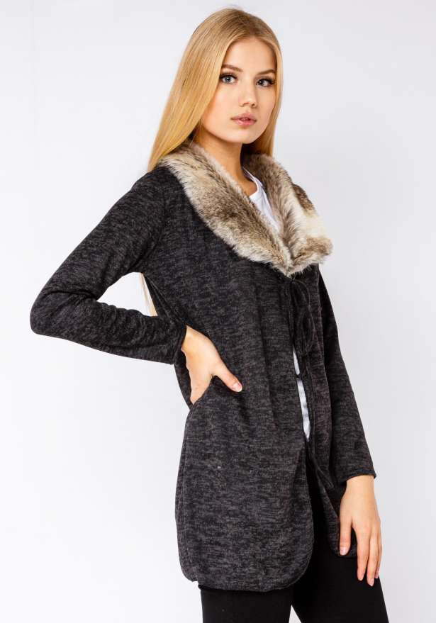 Winter Cardigan With Faux Fur In Black