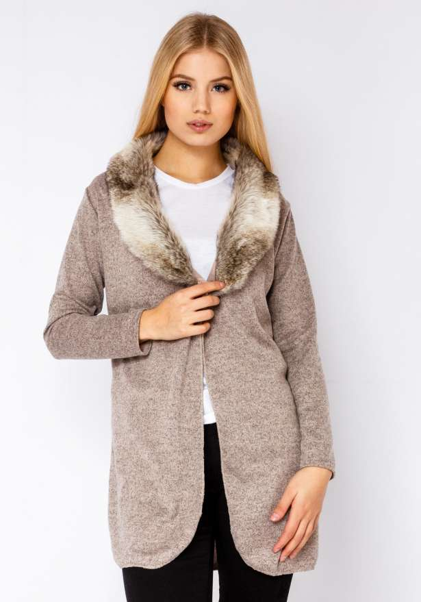 Winter Cardigan With Faux Fur In Beige