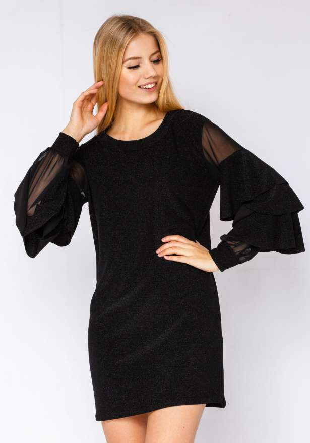Glitter Holiday Dress With Frill Sleeve In Black