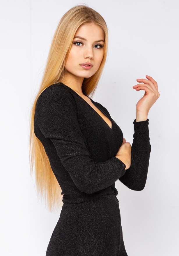 Glitter Holiday Crop Long Sleeve Top In Black