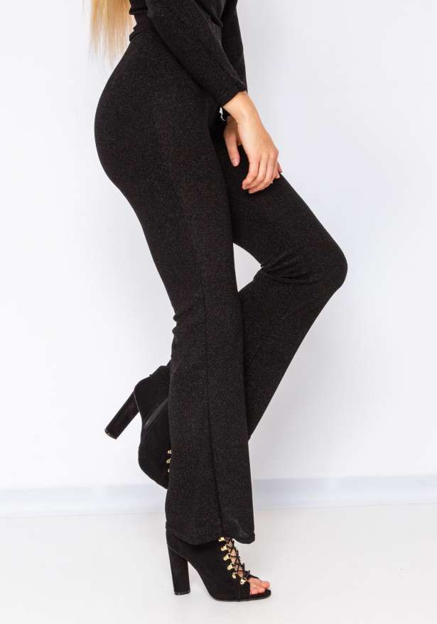 Glitter Holiday Flare Pants In Black
