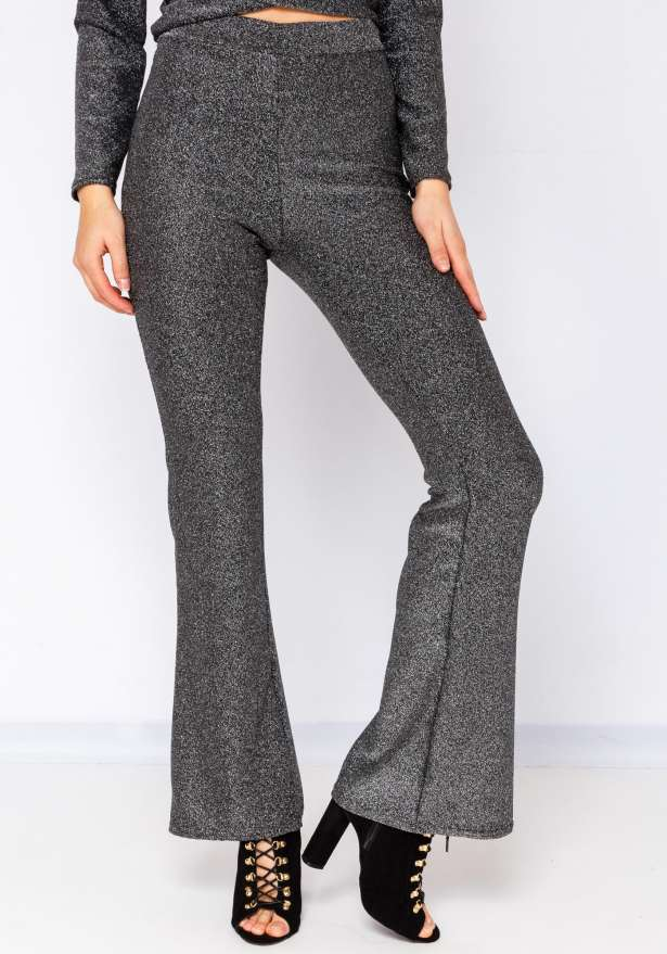 Glitter Holiday Flare Pants In Silver