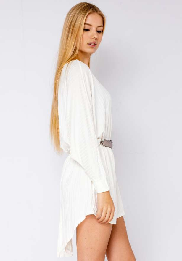 Oversize Premium Ribbed Dress Shirt In White