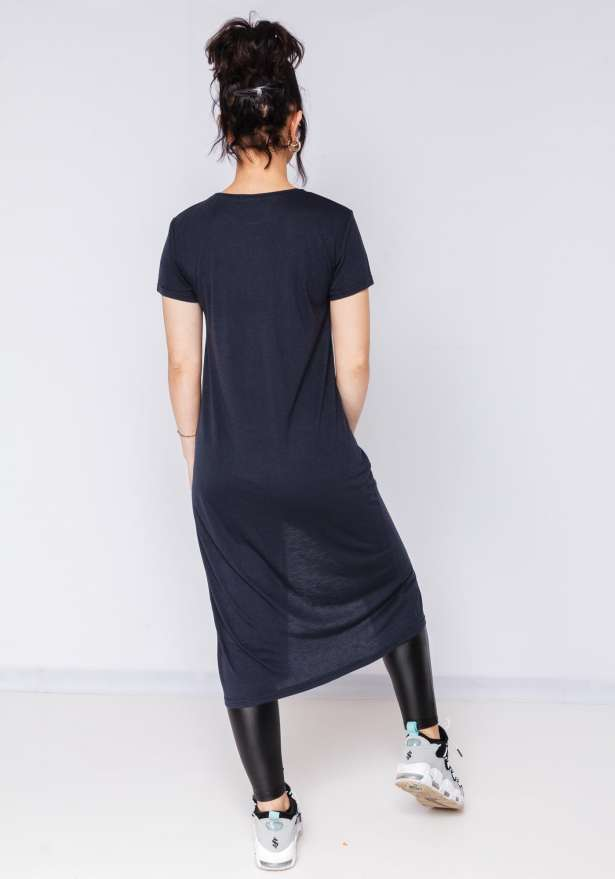Loose Fit T-shirt Dress Mid Cut In Navy