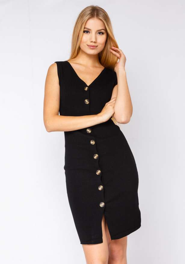 Cute Like A Button Bodycon Dress In Black