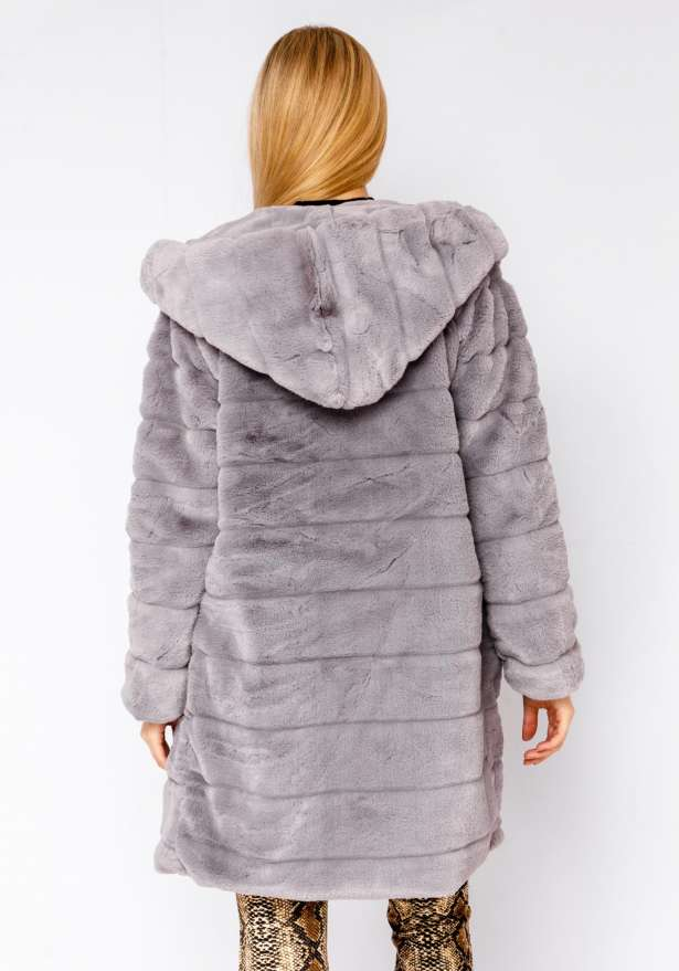 Long Faux Fur Jacket In Grey