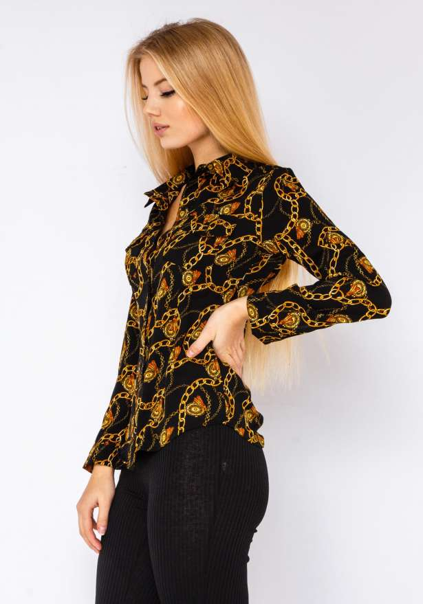 Gold Chains Versace style Button Up Shirt In Black