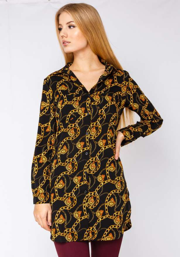 Gold Chains Versace Style Button Up Dress In Black