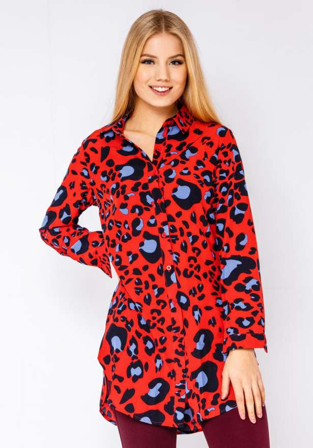 Red Leopard Button Up Dress In Red