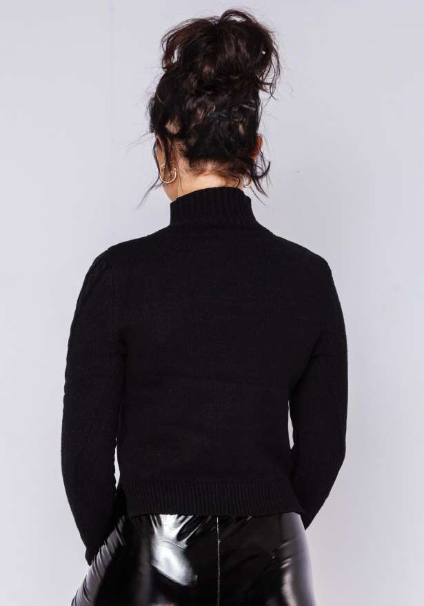 Elly Knitted Cable Polo Jumper In Black