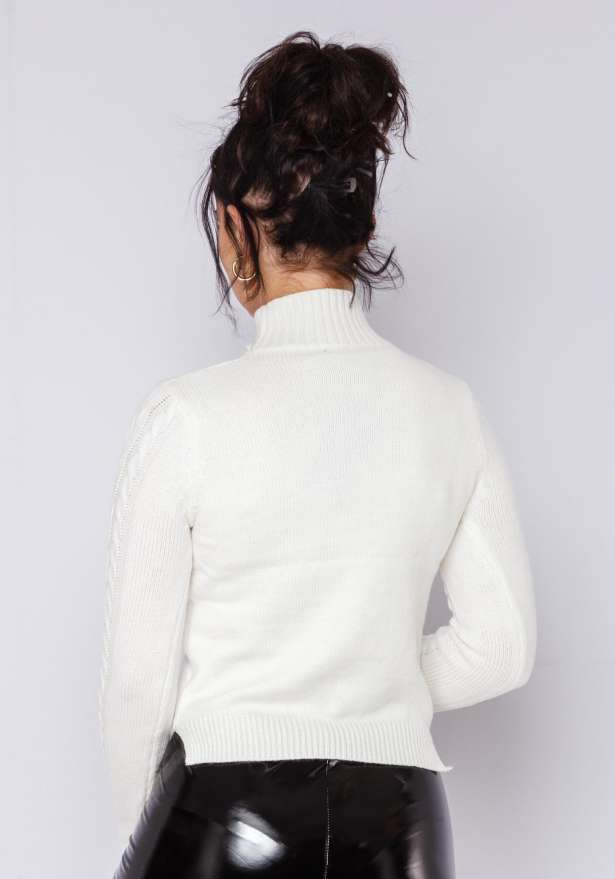 Elly Knitted Cable Polo Jumper In White