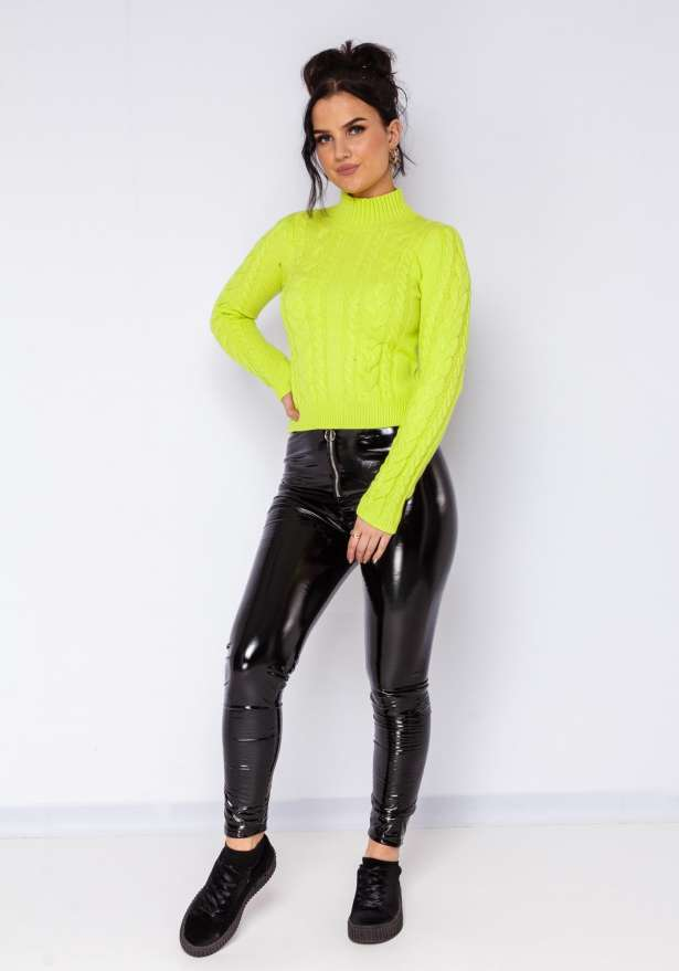 Elly Knitted Cable Polo Jumper In Neon Green