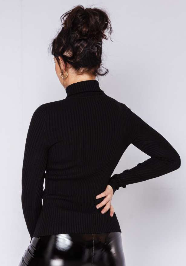 Anny Knitted Rib Polo Jumper In Black