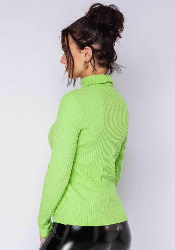 Anny Knitted Polo Shirt In Neon Green