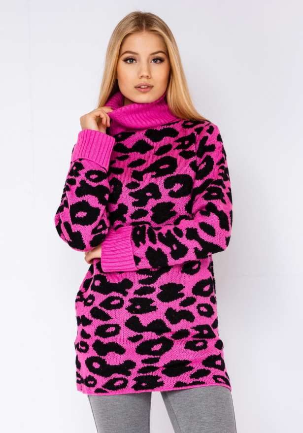 Leopard Premium Knitted Polo In Pink