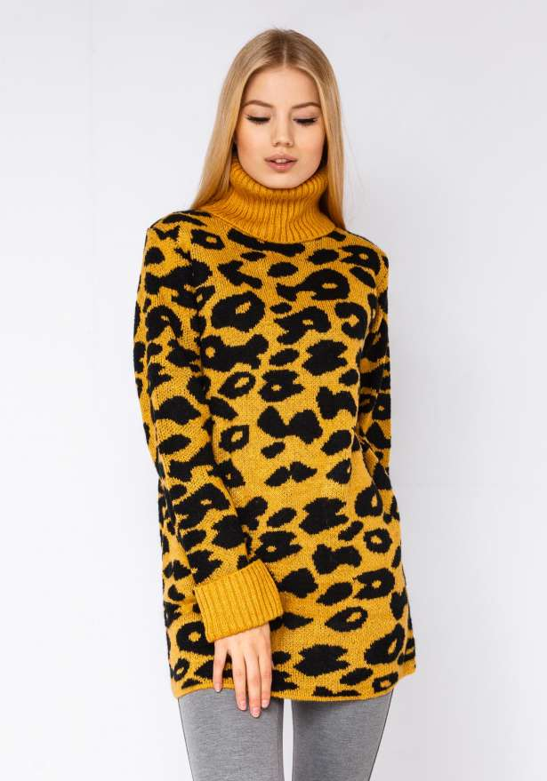 Leopard Premium Knitted Polo In Yellow