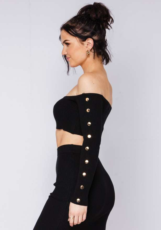 Bardot Super Fit With Goldbutton Detail In Black