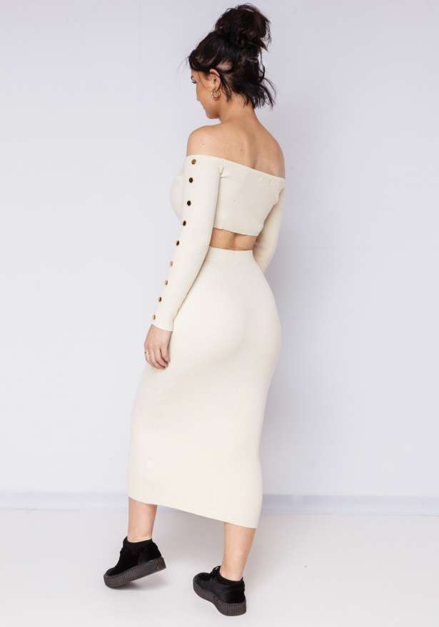 Bodycon Skirt Super Fit With Goldbutton In Beige