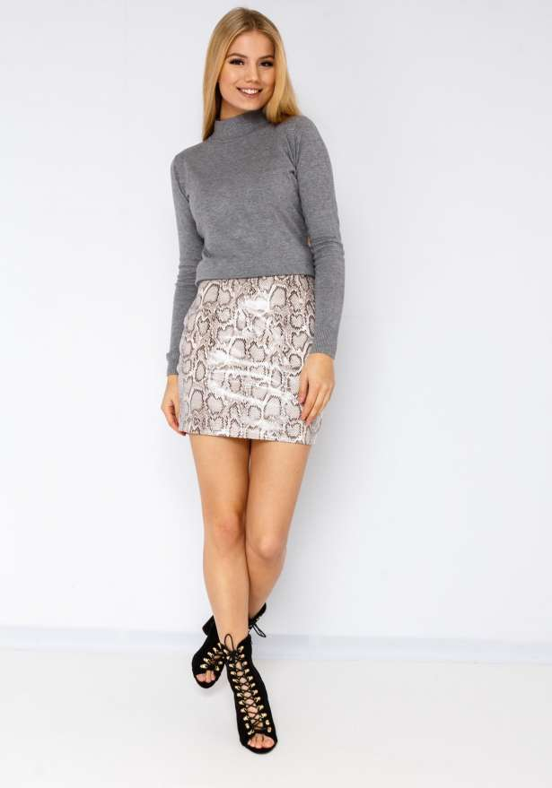 Snake Pu Leather Skirt In Black