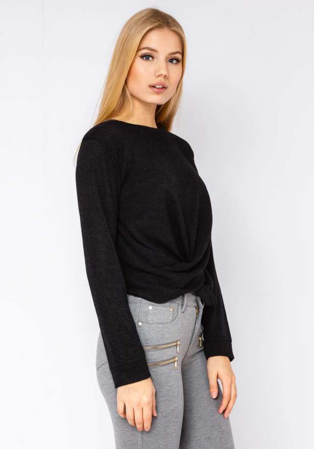 Knit-Sweater With Draped Knot In Black