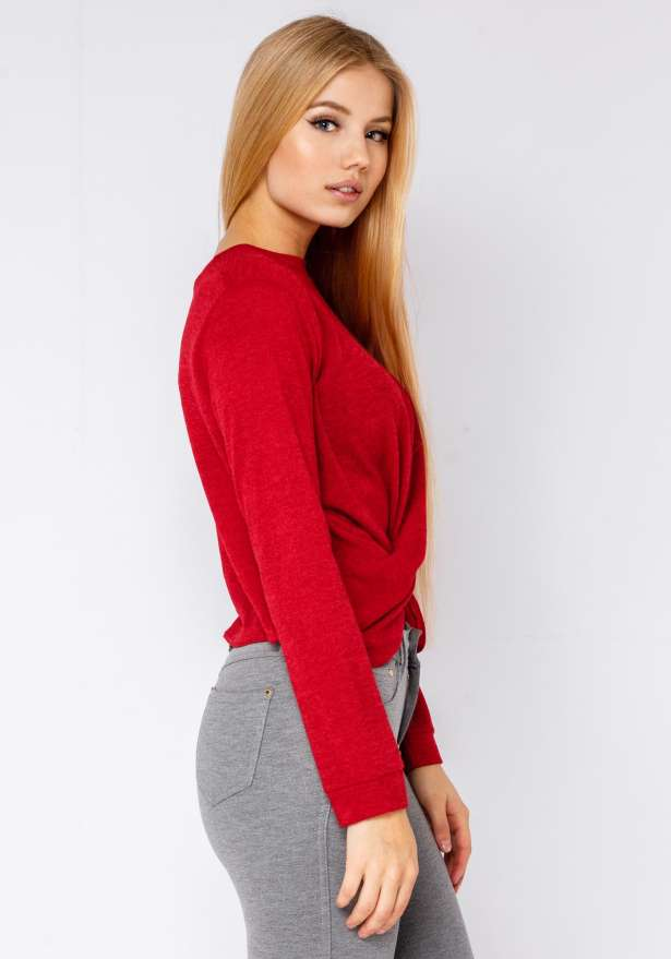 Knit-Sweater With Draped Knot In Red