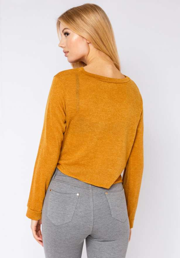 Knit-Sweater With Draped Knot In Yellow