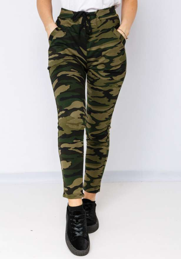 Camo Leggings Tie Front 5163 In Army Green
