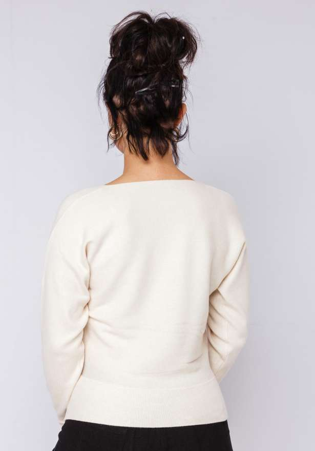 Cross Over Knitted Jumper In Natural White