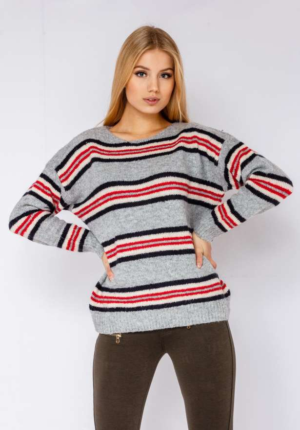 Warm Stripe Knitted Jumper In Grey