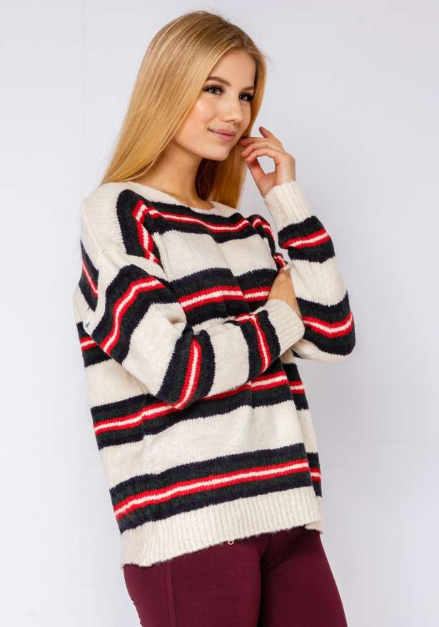 Warm Stripe Knitted Jumper In White