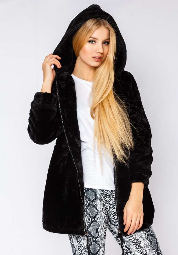 North Circle Hooded Fur Jacket Faux In Black