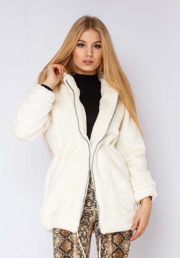 North Circle Hooded Fur Jacket Faux In White