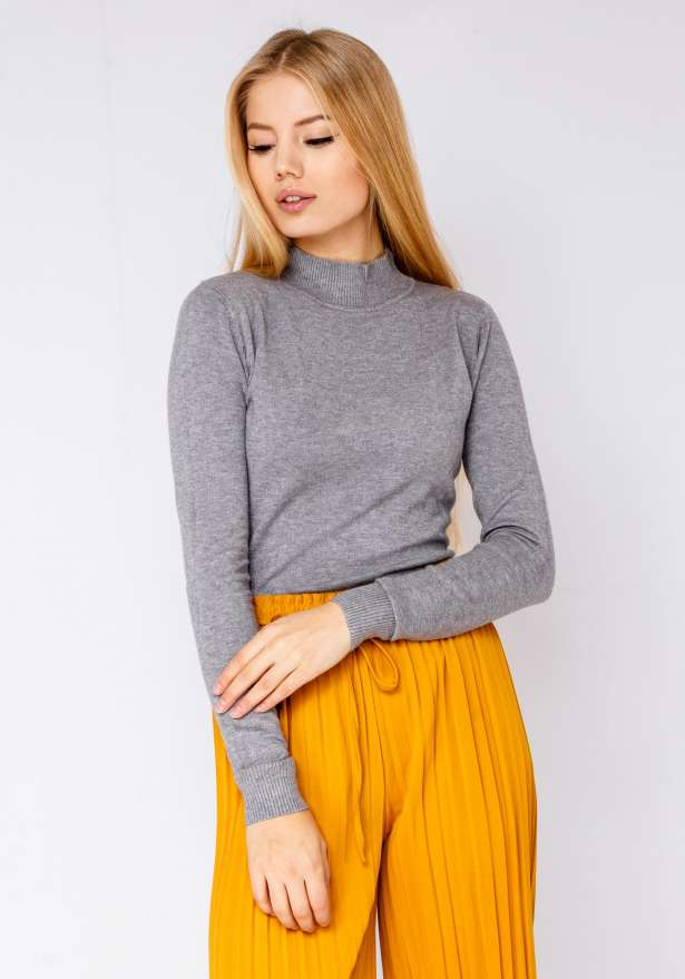 Polo Neck Knitted Jumper In Grey