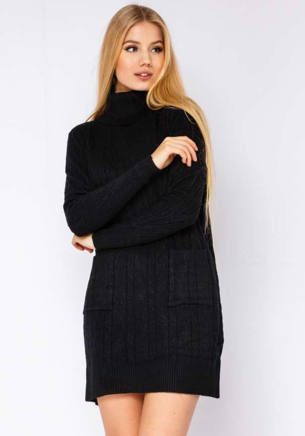 Polo Neck Knitted Dress With Pockets In Black