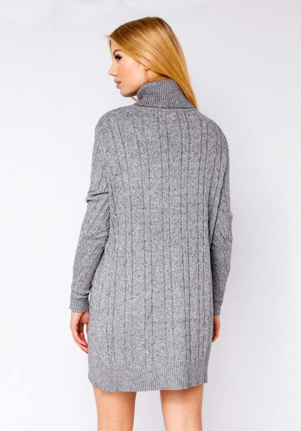 Polo Neck Knitted Dress With Pockets In Grey