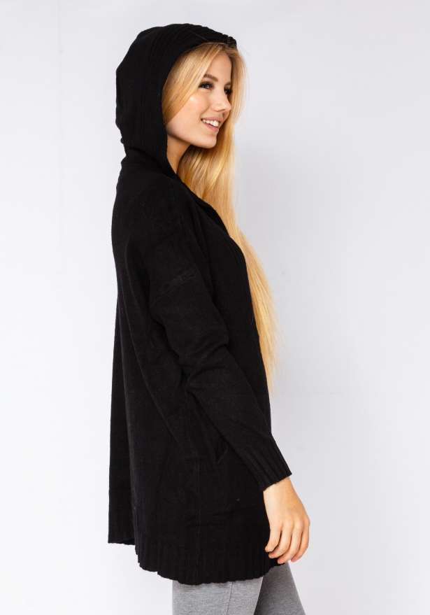 Cardigan With Hood In Black