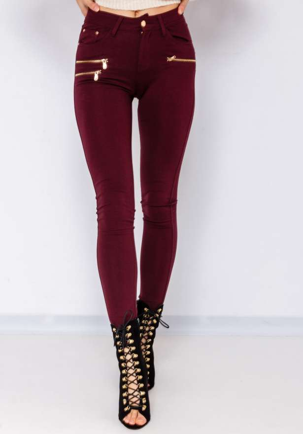 Perfect Fit Skinny Jeans In Wine