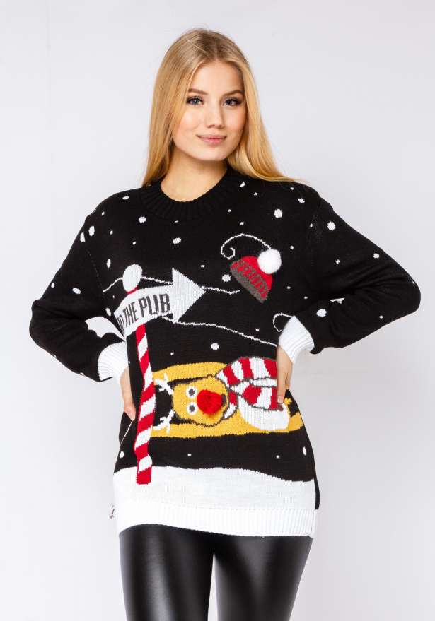 Reindeer Pub Sweater In Black