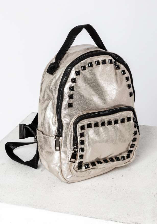Backpack With Studs In Shiny Gold