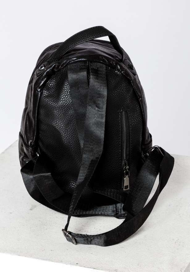 Backpack With Ring Detail In Black