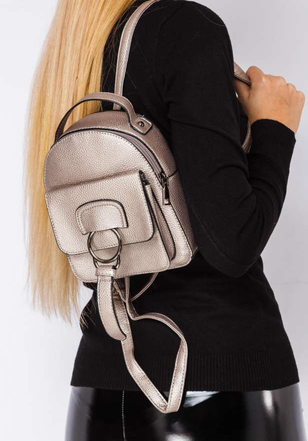 Backpack With Ring Detail In Gold