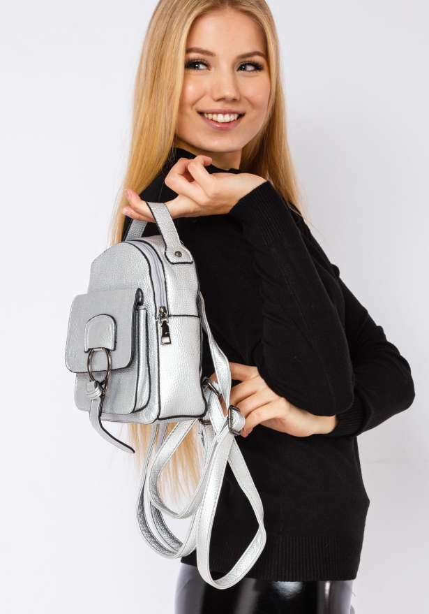 Backpack With Ring Detail In Silver
