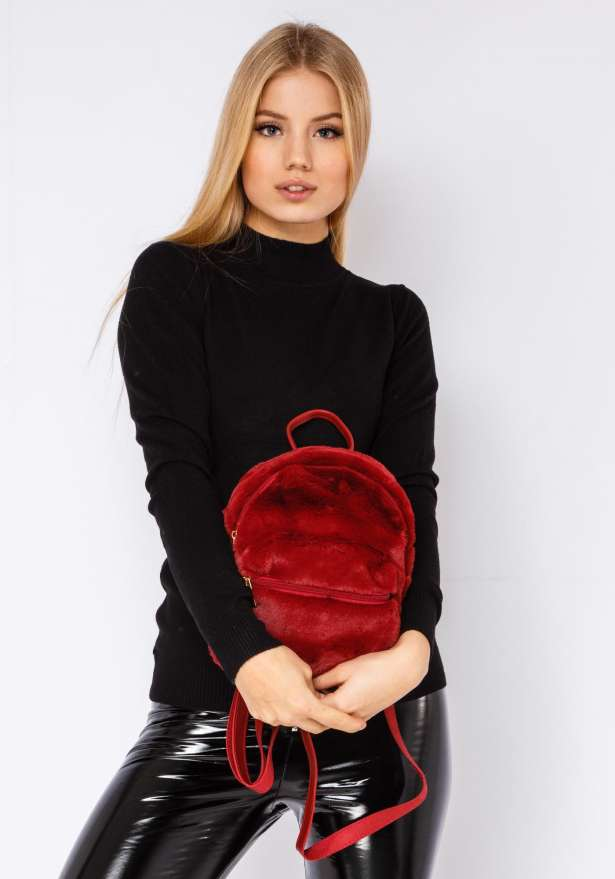 Furry Cutie Backpack In Red