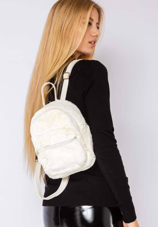 Furry Cutie Backpack In White