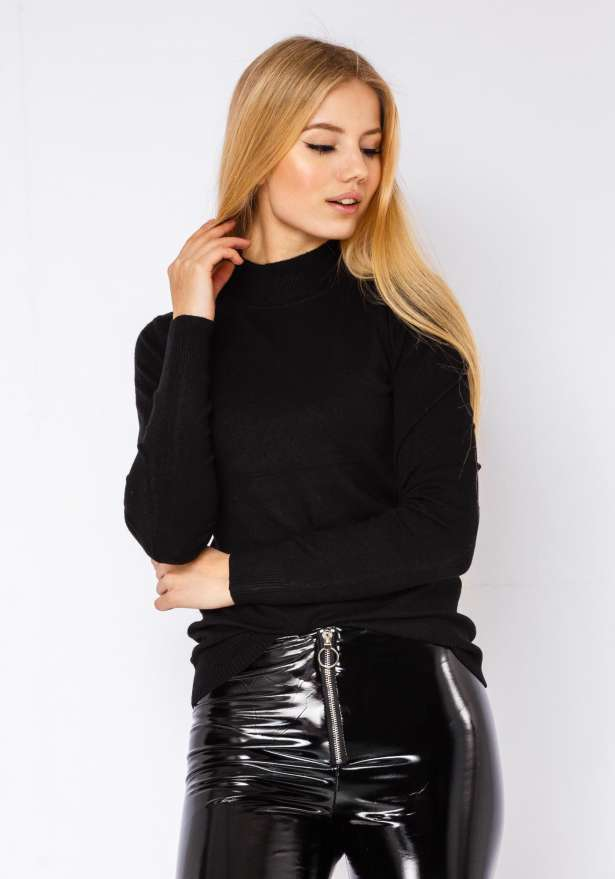 Vinyl Zipper Hot Rod Pants In Black